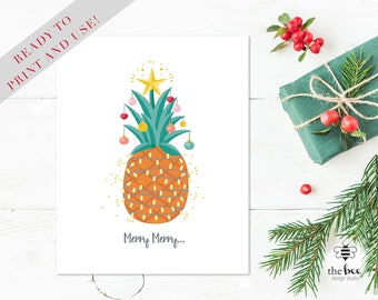 Merry Christmas Card Printable. Tarjeta Navidad imprimible