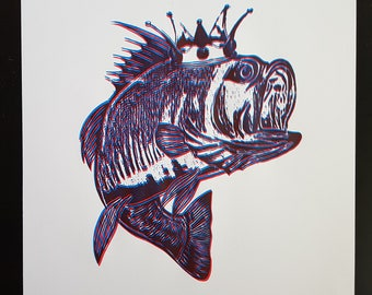 fish king screenprint, 490x400mm, wallart, blue and red