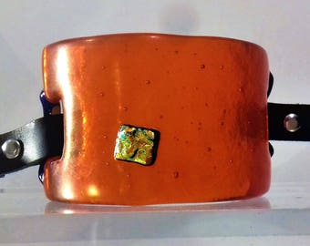 Glass Cuff from Bulleye and Dichroie Glass