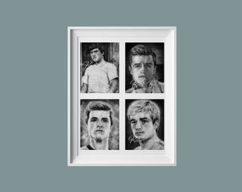 Hunger Games Inspired Distressed Peeta Mellark Collage Fine Art Print