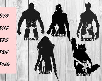 Guardians of the Galaxy Silhouette SVG cutting file, Printable, T-shirt Design, Scrapbooking Clipart