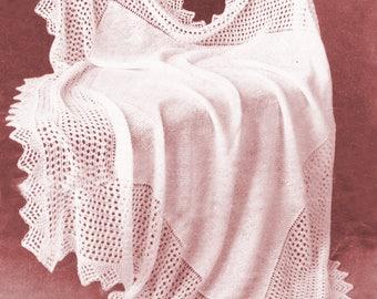 Baby Baptism Christening shawl/ Baby shawls/ Baby Christening gift/ Instant PDF Digital Download Vintage Knitting Pattern- 953