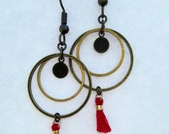 Earrings double rings, Pompom French wine