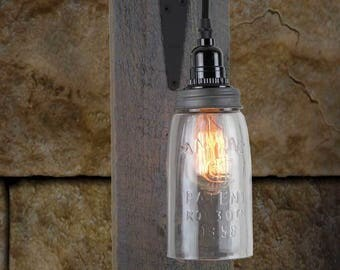Barn Wood Electric Mason Jar Wall Sconce - Hinge