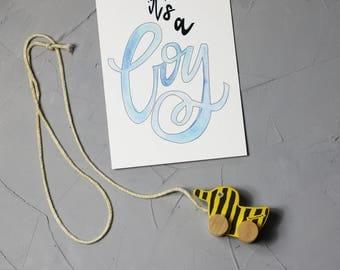 "Hand lettering postcard ""it's a boy"""