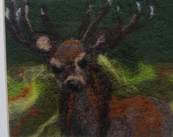 Needle felted stag wool art