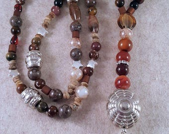 XL-Necklace made of different beads and gemstones
