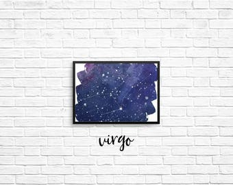 Zodiac Constellation 5x7 prints - Virgo, Libra, Scorpio, Sagittarius, Capricorn, Aquarius, Pisces, Aries, Taurus, Gemini, Cancer, Leo