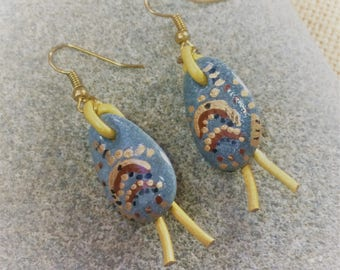 Hand painted sea stone earrings with rose gold plated ear wires and leather trim