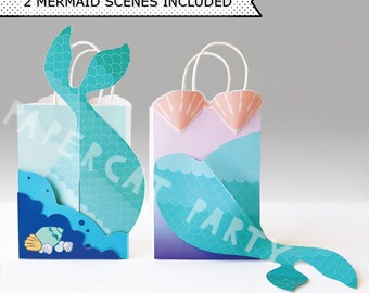 Swim with Mermaids Favor Bags/ Mermaid Birthday Favors/ Gift bag/ Goody/ Treat/ Printable Decoration/ Paper PDF kit instant Download/ DIY
