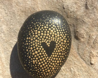 Gold heart rock