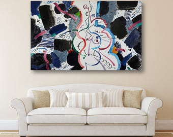 Abstract Art Abstract Oil Painting Erotic Art Canvas Art Gift for Her Modern Artwork  Original Painting Large Painting Wall Art Holiday Gift