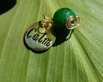 Jade and copper wrapped calm charm