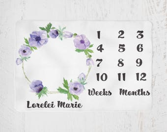 Milestone Monthly Baby Blanket Personalized, Purple Flower Print, Baby Photo Prop, Growth Blanket, Monthly Baby Blanket