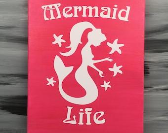 "Mermaid Picture - Mermaid Bathroom - Mermaid Sign - Mermaid Decor - 14"" X 11"" Canvas Picture with Mermaid - Sparkle Pink"