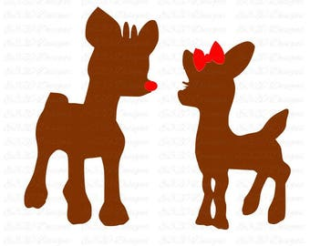 Rudolph Red Nosed Reindeer and Girlfriend Clarice SVG or DXF File