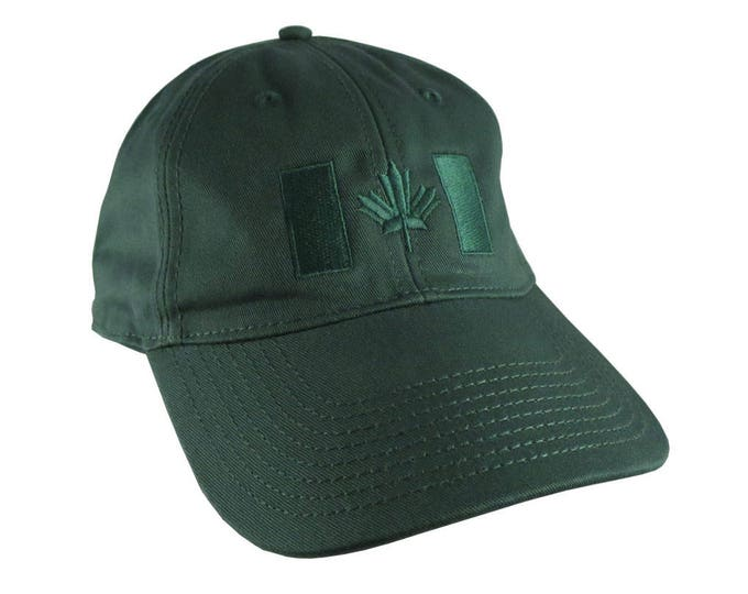 Canadian Flag Forest Green Embroidery Design on a Forest Green Adjustable Unstructured Baseball Cap Dad Hat for a Tone on Tone Fashion Look