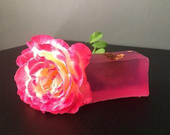 Natural rose soap bar,  Organic rose soap,  Homemade soap -  1pc