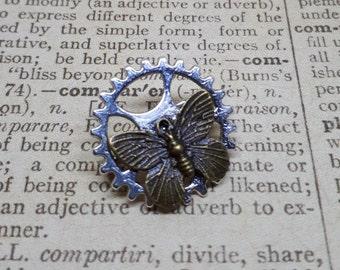 Brooch, steampunk, butterfly, brooch, pin, gear, gear, butterfly