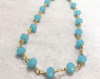 """Blue 18.5"""" Layering Rosary Chain Necklace"""