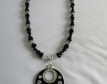 Black and Silver Glass & Crystal Pendant Necklace
