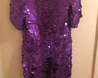 Purple sequin dress | Etsy