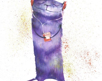 Cat with Walkman Print | Animal Art Print | Cat Gift