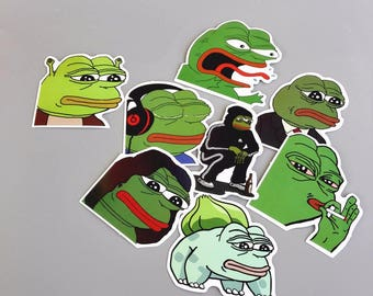 Pepe Sad Frog Stickers Pack Vinyl (x8) - Pepe The Frog Decals - Feels Good Man