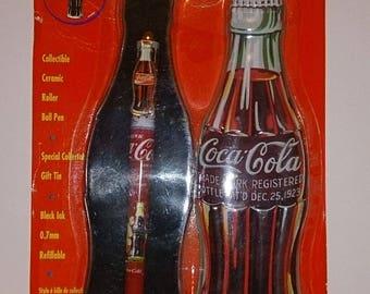 Coca-Cola Vintage pen in Bottle Shaped tin 1996
