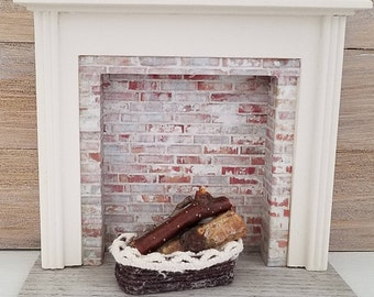 Miniature Fireplace, Dollhouse Fireplace, Dollhouse Furniture, Dollhouse Miniatures, Miniature Furniture, White and Gray Fireplace