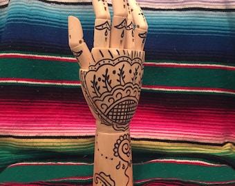 Wooden henna hand