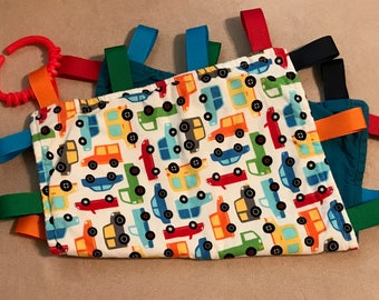 Tag Blanket - Cars and Trucks Lovey - Teething Blanket - Ribbon Blanket - Baby Gift