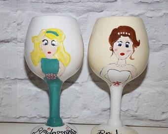 Personalised wedding Ceramic wine glass gift