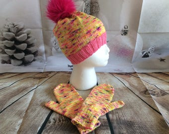 Merino Fruit Salad  Hat and Mitt set ( Med)