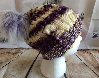 Merino Jewel Cabled Hat ( Med-large ) slight slouch