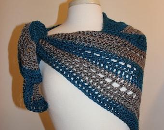 CraftyDesignsByJane.etsy.com shawl wrap grey teal blue green crochet lace open work shawl woman's shawl wrap