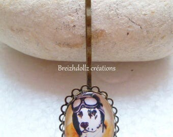 Bronze cabochon pin dog Aviator