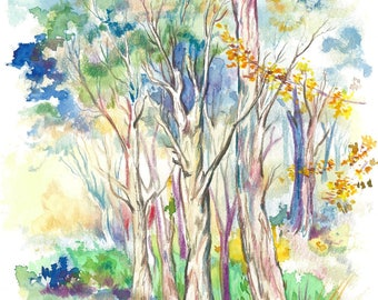 Blue Forest | Watercolor Artwork, Watercolor Painting, Pencils, Wall Art, Decor, Drawing, Original, Nature, Trees, Australia
