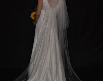 "2-Tier 30""/108"" Swarovski Crystals Scattered Cathedral Veil - Sparkling wedding veil with raw/cut edge"