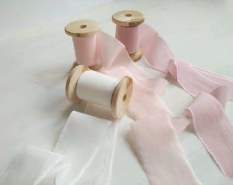 Hand dyed Ribbon Set, BLUSH PINK Silk ribbon, Cotton ribbon, Invitation Ribbon, Bouquet Ribbon, Bridal Supplies, Pink Wedding Silk Ribbons
