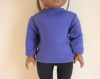 Blue Sweatshirt for 18 inch dolls; fits American Girl