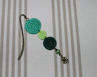 Green cotton bookmarks and charm bronze clover metal