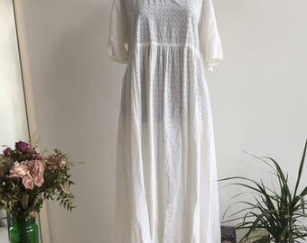Vintage Hippy White Crochet Long Dress