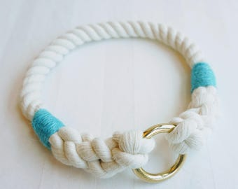 Pacific Blue Classic Nautical Rope Dog Collar