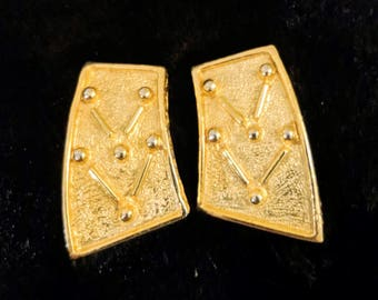 Vintage Gucci Earrings - Bright Gold Tone Geometric Paolo Signed Gucci Earrings