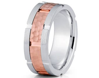 Rose Gold Wedding Band Men's Wedding Ring Anniversary Ring Hammered Ring 14k Gold Men's Ring Two Tone Comfort Fit