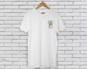 Succulent In a Pail Bucket White Tee Tshirt