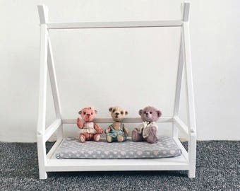 18 inch Doll Wooden House Bed, Doll accessories, Doll Furniture, Wooden toys, Doll bedding, Christmas Gift for Girl