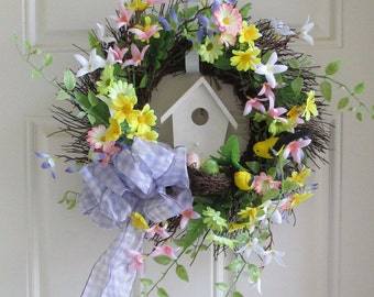Birdhouse twig wreath gingham bows, birds, eggs, shabby-chic, country-cabin decor pastel colors