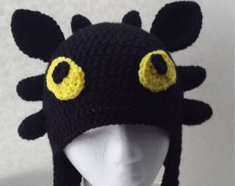 Toothless Hat, Dragon Hat, Crochet Hat, Character Hat, Night Fury Hat